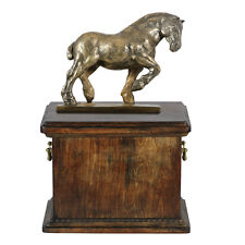 Beautiful solid wood casket with Bronze Statue -Belgian  Horse cremation Urn (2)
