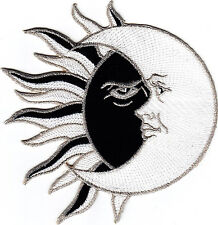 "SUN & MOON, BLACK, WHITE & SILVER(4 3/4"")-Iron On Embroidered Patch/Astrology"