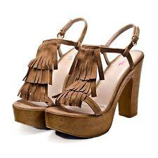 Designer Sandals by Mimi Shoes in Brown Size 7 Platform Heels Euro 40