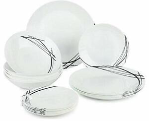 18-pc Luminarc Dinnerware Plates Set Unbreakable Shockproof Tempered Glass Black