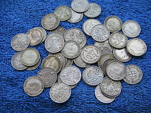 25 BRITISH SILVER THREE PENCE PIECES 3d's KING GEORGE V & VI  1920 - 1941