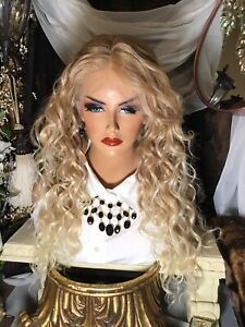"""Gorgeous 27"""" Sunkissed Blonde Mix, Ear To Ear Lace, 4"""" Deep, Curly Wig"""