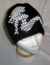 Hand Knit  Beaded Beanie Hats Mud Flap Lady Trucker Made to Order
