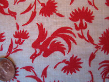 One Vintage Feedsack Red & White Birds 38x45 Clean! Novelty!