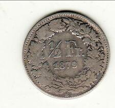 SUISSE RARE 1/2 FRANCS 1879 B