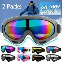 2Packs Ski Goggles Anti Fog Lenses 400 UV Protection For Men Women Kids Skiing