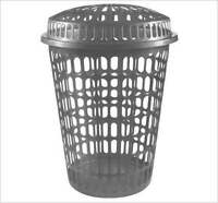 NEW PLASTIC LAUNDRY WASHING CLOTHES STORAGE BIN BASKET ROUND SILVER 50 LITRE