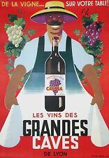 Original Vintage French Les Vins de Grandes Caves Wine Poster 1950 ca.