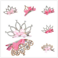 Baby Girl Kids Crystal Crown Flower Hair Clip Princess Hairpins Hair Accessories