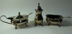 Hallmarked silver cruet 3 piece condiment set 121g of silver - Birmingham 1974