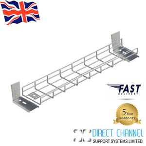 "Premier Under Desk Basket Tray w/ ""L"" Brackets & Fixings 40cm/60cm/80cm/100cm"
