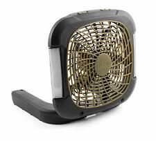 Treva Battery Powered Portable Camping Fan with LED Lights - Black/Olive Green