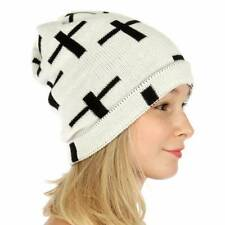 KNITTING FACTORY Hand Knit White/Black Cross Design Beanie Cap Hat
