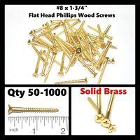 "#12 x 1-3//4/"" Flat Head Phillips Wood Screws Stainless Steel Qty 50 New Everbilt"