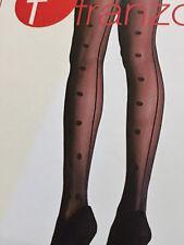 Feinstrumpfhose Damen 40den mit großen Tupfen und Rückennaht,schwarz, Gr. 38