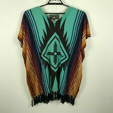 Crazy Train Sleeveless Aztec Print Fringed V-Neck Pullover Sweater Womens Plus