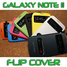 Housse Etui Flip Puce NFC Cover Avec Fenêtre Samsung Galaxy Note 2 Film Offert