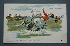 R&L Postcard: M&L Comic, Paddling in the Sea, Rowing Boat, Old Man & Woman