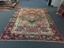 S.Antique Hand Knotted Vintage Serapi Herizz Area Rug Geometric 8'2x11'6,#1603
