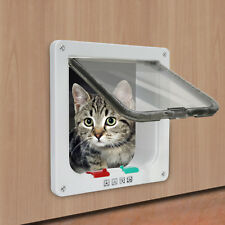 4 Way Safe Lockable Pet Cat  Dog  S M L Flap Door White Brown Screen Locking