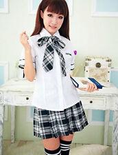 Japanese High School Girl Sailor Fancy Dress Uniform Costume Skirt Outfit CHA