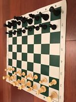 Used Tournament CHESS Set Basic Plastic Pieces and Vinyl Board