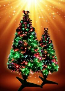 Pre Lit Green Christmas Tree with Multi-Coloured Changing Fibre Optics and Xmas