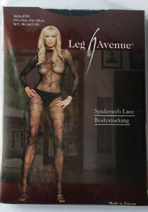 Leg Avenue Spiderweb Bodystocking One Size Fits Most 90-160 lbs long sleeve NEW