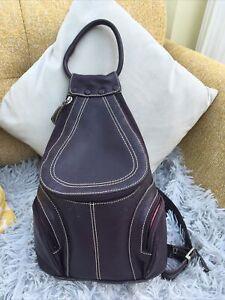 Oriano Purple Leather Backpack Rucksack