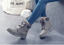 Women Lady New Lace Up Ankle Snow Boots Winter Warm Martin Combat Shoes Booties