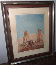 Orientalisme aquarelle Egypt colosses de Memnon signé datée 1859