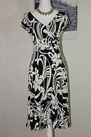 B. MOSS Womens Sz S Black Cream Floral Stretch Ruched Surplice Sleeveless Dress
