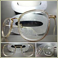 Mens CLASSIC VINTAGE RETRO Style Clear Lens EYE GLASSES Transparent & Gold Frame