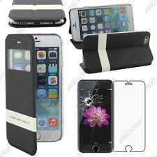 """Accessoire Housse Coque Etui S-View Flip Cover Noir Apple iPhone 6 4,7"""" + Verre"""