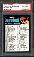 1971 TOPPS ##206 CHECKLIST 264-393 RED HELMET PSA 8 NM/MT
