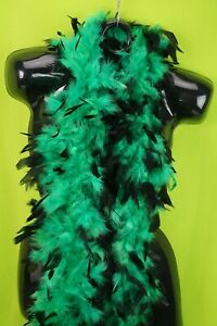 Luxurious Green Black Tipped Feather Boa 6' Halloween Costume Bachelorette Party