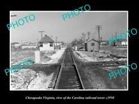 OLD LARGE HISTORIC PHOTO OF CHESAPEAKE VIRGINIA, CAROLINA RAILROAD TOWER c1950