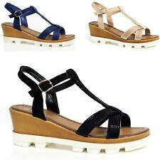LADIES WEDGE SANDALS WOMENS HEELS NEW FANCY SUMMER DRESS PARTY STRAPPY SHOES SIZ