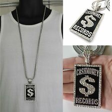 MENS NEW ICED OUT HIPHOP SILVER CASH MONEY RECORDS PENDANT FRANCO CHAIN NECKLACE