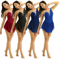 Women Roller Skating Ice Skating Dress Modern Lyrical Ballet Dance Leotard Dress