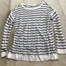 Ann Taylor Loft Women's Knit Striped Top - Sz L - Long Sleeves White & Grey