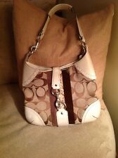 COACH Purse White &Brown Faux Snakeskin Leather Buckle 10260 Signature Logo E