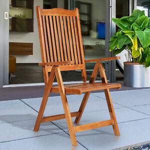 5-Position Acacia Wood Chair Folding Recliner Dining Seat Garden Outdoor Indoor