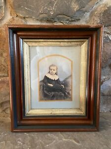 1800's Antique WALNUT WOOD Deep Well Picture Frame with Hand Painted Portrait