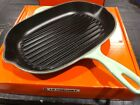 """NEW LE CREUSET COOL MINT 12.5"""" CAST IRON OVAL SKILLET GRILL DISCONTINUED COLOR!!"""