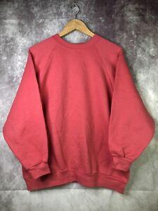Vintage Basic Straight Shoulder Sweatshirt Red Size Large