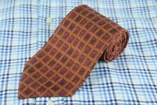 Joseph Abboud Men's Tie Brown Grid Printed Silk Neck 58 x 3.75 in.