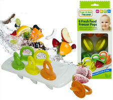 6 x Fresh Food Freezer Baby Pops Weaning Feeding Ice Pots Tray BPA Free