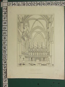 1842 DATED ANTIQUE PRINT ~ DURHAM CATHEDRAL ALTAR SCREEN & EAST END OF CHOIR