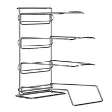 Chrome Frying Pan Rack Kitchen Accessories Organizer Stand Unit New